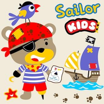 Pirata divertente con barca a vela