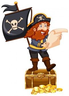 Pirata e monete d'oro su bianco
