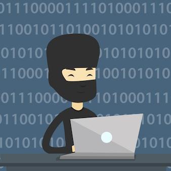 Pirata informatico che utilizza computer portatile per rubare informazioni.