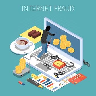 Pirata informatico isometrico della composizione nella frode di internet con soldi durante l'attacco all'illustrazione di vettore del computer