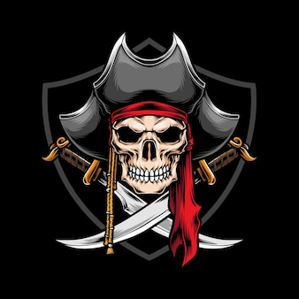 Pirata teschio con illustrazione di spada incrociata