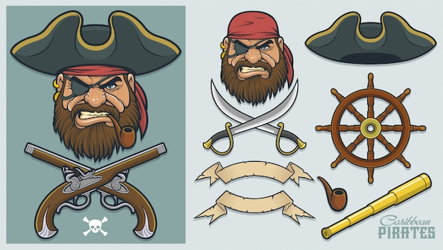 Pirate elements per la creazione di mascotte e logo