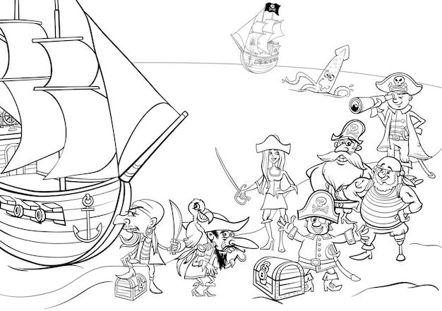 Pirati con libro da colorare nave