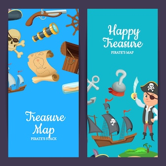 Pirati del mare del fumetto modelli di banner web