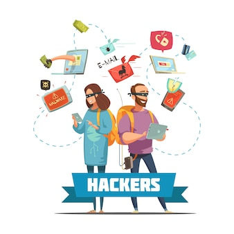 Pirati informatici criminali al lavoro che rubano informazioni sulle password e accesso al conto bancario