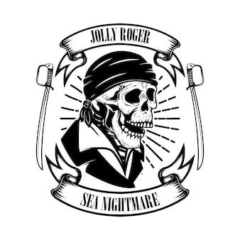 Pirati. modello dell'emblema con spade e teschio pirata.