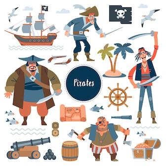Pirati. pirati, nave a vela, pesce di mare e forziere collezionabili, isolati su bianco. infantile in stile cartone animato piatto