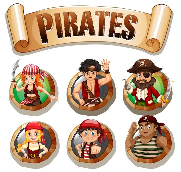 Pirati su illustrazione rotonda distintivi