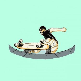 Piscina scheletro brandelli design illustrazione