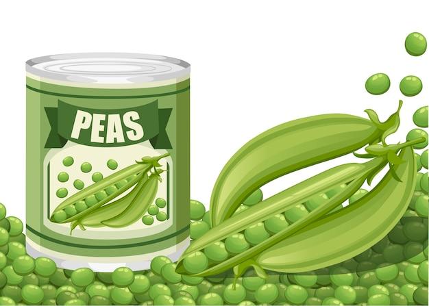 Piselli verdi in lattina di alluminio con baccello. cibo in scatola con logo di piselli. prodotto per supermercato e negozio. illustrazione su sfondo bianco.