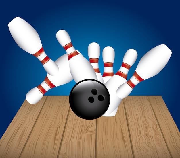 Pista da bowling su sfondo blu illustrazione vettoriale