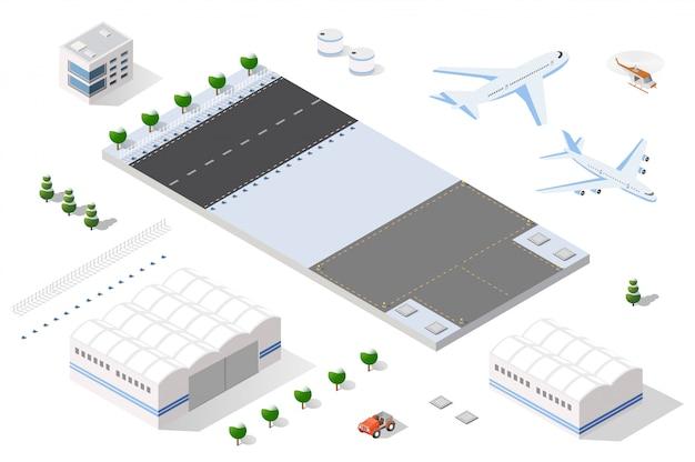Pista di atterraggio 3d isometrica