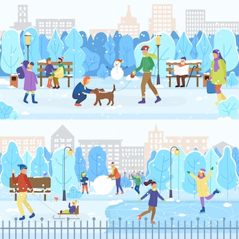 Pista di pattinaggio e winter park, pattinaggio di persone, all'aperto