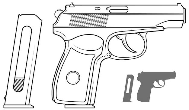 Pistola grafica in bianco e nero con clip per munizioni