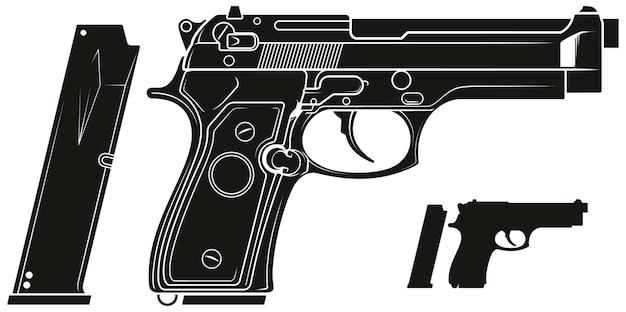 Pistola pistola grafica silhouette con clip munizioni