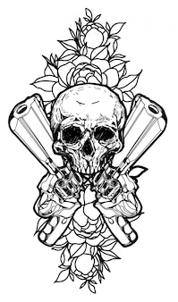 Pistole di arte del tatuaggio e disegno della mano del cranio isolato