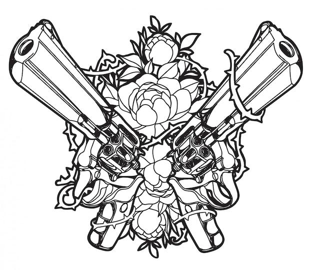Pistole di arte del tatuaggio e disegno e schizzo della mano del fiore