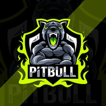Pitbull arrabbiato mascotte logo esport design
