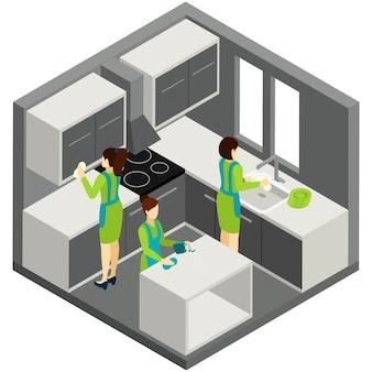 Pittogramma isometrico di aiuto della famiglia di pulizia di kitchen