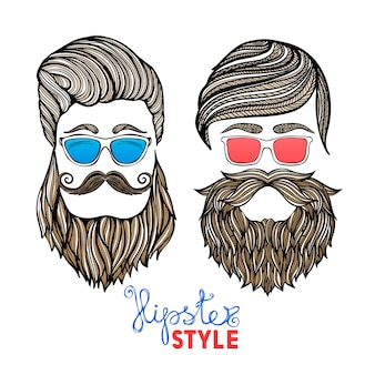 Pittogrammi di doodle di occhiali colorati teste di hipsters