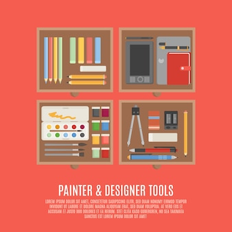 Pittore e concetto degli strumenti del progettista