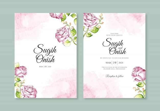 Pittura a mano del fiore dell'acquerello per un modello minimalista dell'invito di nozze