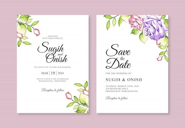 Pittura a mano dell'acquerello per un modello di carta di invito matrimonio semplice