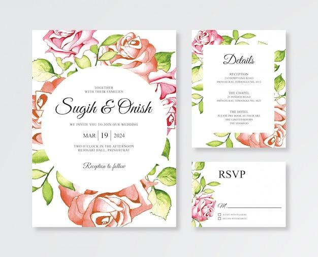Pittura a mano floreale dell'acquerello per modelli di inviti di nozze