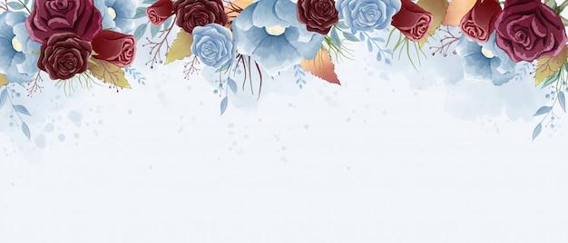 Pittura ad acquerello di rose e foglie selvatiche. tema color bordeaux e blu polvere.
