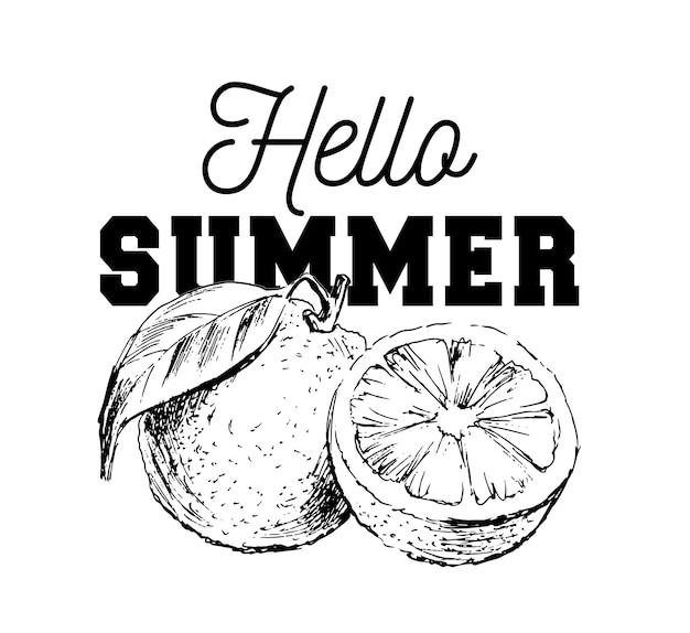Pittura ad acquerello disegnato a mano su sfondo bianco. illustrazione di frutta arancione slogan ciao estate
