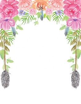 Pittura della mano del fondo dei fiori dell'acquerello di estate di boho