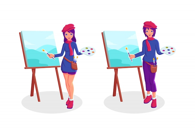 Pittura delle coppie nell'illustrazione della tela