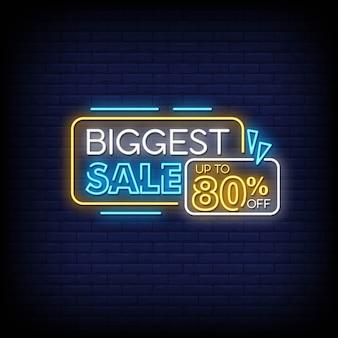 Più grande vendita di insegne al neon in stile testo