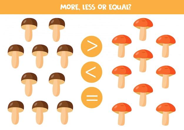Più, meno o uguale a simpatici funghi di bosco.
