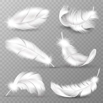 Piume bianche realistiche. piumaggio di uccelli, piuma soffice e cadente, piume di ali d'angelo in volo. insieme realistico di vettore isolato