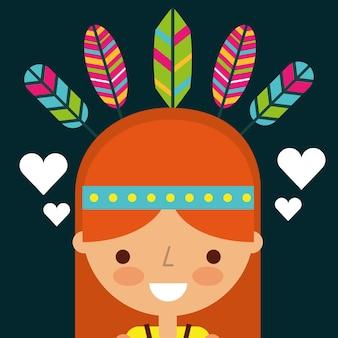 Piume di cartone animato donna hippie retrò