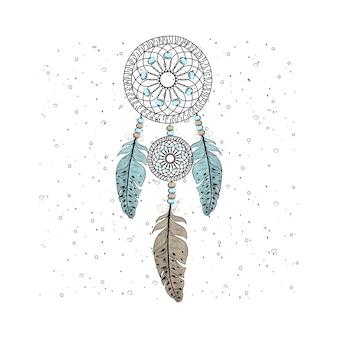 Piume di collettore di sogno disegnato a mano con sfondo