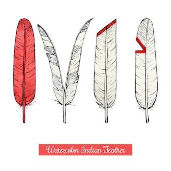 Piume di guerra del nativo americano di tiraggio della mano dell'acquerello