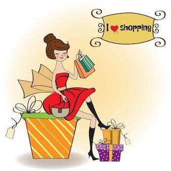 Piuttosto giovane donna che è felice che è andato lo shopping