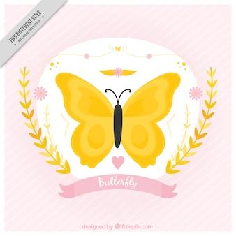 Piuttosto sfondo d'epoca di farfalla gialla