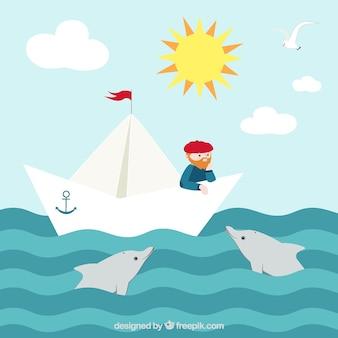 Piuttosto sfondo di marinaio in barca di carta e delfini