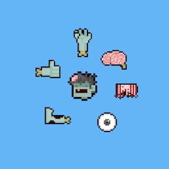 Pixel art cartoon zombie set.