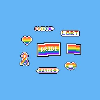 Pixel art lgbt set. elementi a 8 bit. giorno dell'orgoglio