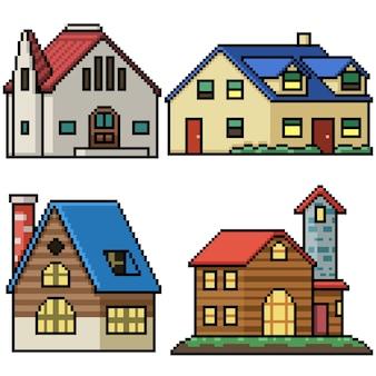 Pixel art set casa di villaggio isolata