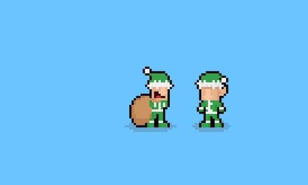 Pixel art simpatici personaggi degli elfi dei cartoni animati.