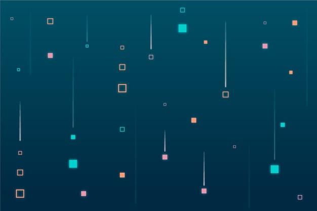 Pixel astratto pioggia sfondo blu