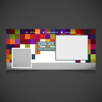 Pixel background geometrica modello di copertina fb