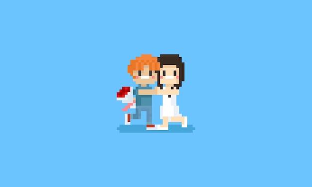 Pixel coppia romantica con bouquet di fiori