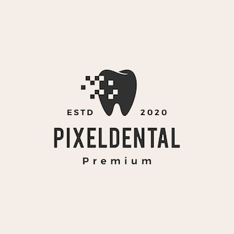 Pixel dentale digitale vintage icona logo illustrazione