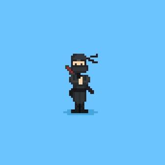 Pixel simpatico personaggio ninja.8 bit.